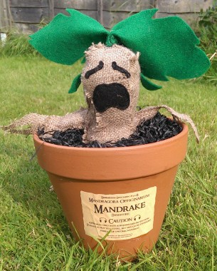 A plushie based on the Mandrake in the Harry Potter series, made out of hessian and felt. Created as a birthday gift.