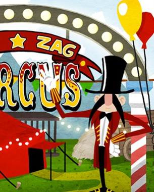 Zig Zag Circus is an innovative party game for 1-6 players playing simultaneously on the same device. This game is currently in development for iOs, Android, Kindle and Nook.